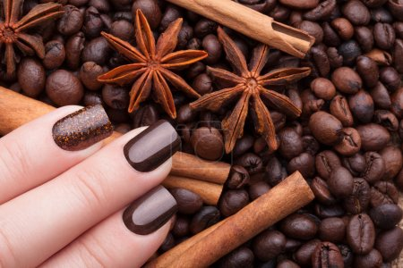 Beautiful brown manicure.