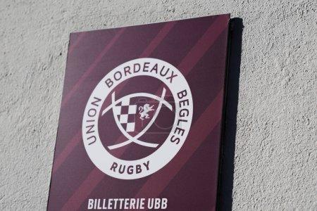 Bordeaux, Aquitaine France - 01 18 2021: Rugby Bordeaux Gewerkschaft bittet um Ticketschalter Logo und Textschild Frankreich Geschäft in der Stadt Frankreich