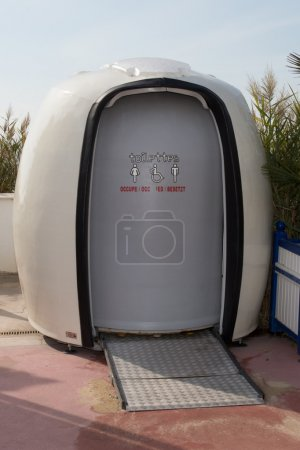 Photo for The Picture of the portable white toilets - Royalty Free Image