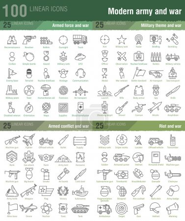 100 linear icons for military, war, and armed conflicts infograp