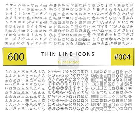 Photo pour 600 icônes vectorielles pour infographie, kit mobile UX / UI et design d'impression. Inclure : nourriture et boissons, armée et armée, transport et logistique, formes géométriques - image libre de droit