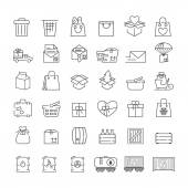 Vector thin line icons set for logistics delivery and shipping