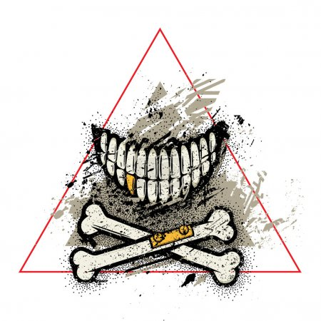 Dotwork skull smile with crossed broken bones and golden tooth.