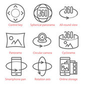 Vector thin line icons set with 360 Degree View and Panorama tools and applications For infographics and UX UI mobile kit