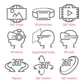 Vector thin line icons set with 360 Degree View Icons virtual r