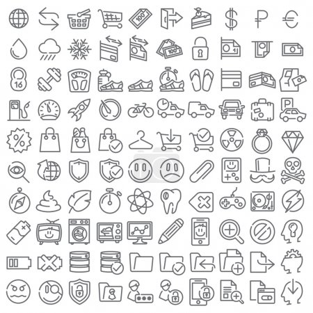 Illustration for 100 vector line icons set for web design and user interface - Royalty Free Image