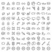 100 vector line icons set for web design and user interface