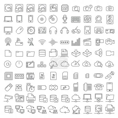 One hundred icons of electronics and digital devices