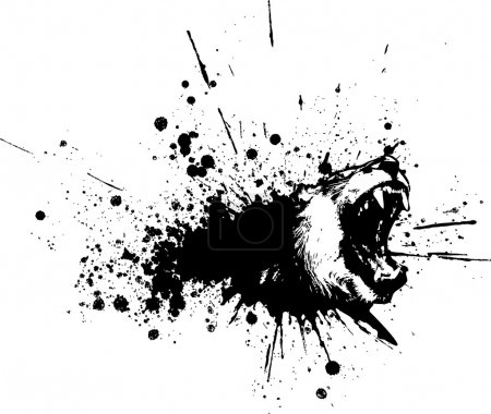Illustration pour Abstrait encre noire tache lion animal - image libre de droit
