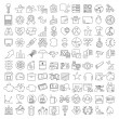 One hundred miscellaneous thin line icons set for ...