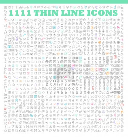 Illustration for 1111 thin line icons exclusive XXL icons set. Universal interface, navigation, people, family, baby, medicine and healthcare, holidays, Christmas, Valentines Day and many other miscellaneous icons - Royalty Free Image