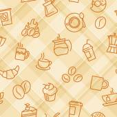 Vector seamless patterns with plaid background and coffee theme icons For textile print or web design background