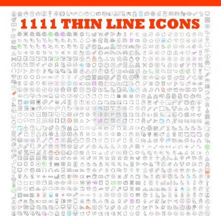 Illustration for 1111 thin line icons exclusive XXL icons set contains: universal interface, navigation, people, web store, finance themes, and many other. Ideal set for infographics - Royalty Free Image