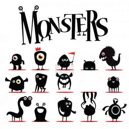 Illustration for A lot of vector black monsters - Royalty Free Image