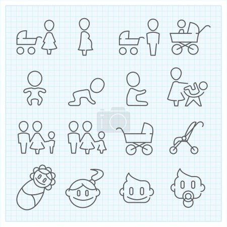 Childhood  thin line icons set