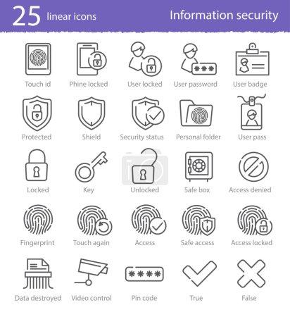 Illustration pour 25 icônes linéaires vectorielles de sécurité de l'information pour la conception et les applications Web - image libre de droit