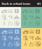 Thin linear school icons
