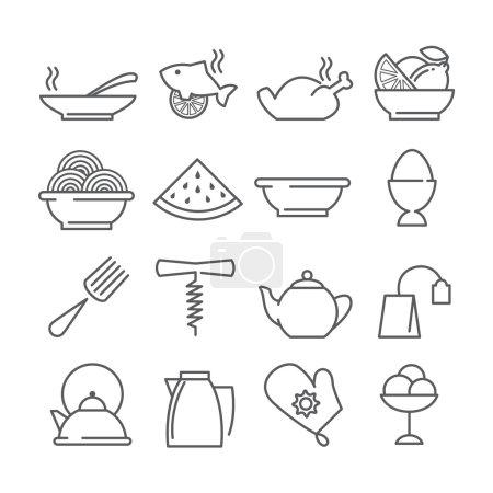 Photo pour Icônes vectorielles linéaires pour aliments et boissons isolées sur blanc - image libre de droit