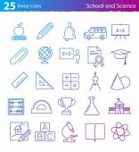 School education and science icons set