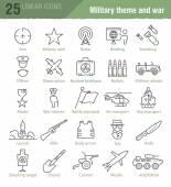 Vektor lineární ikony pro vojenské infografika