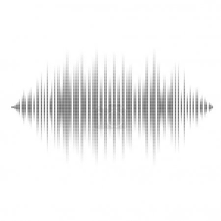 Waveform background isolated. Black and white halftone vector sound waves. You can use in club, radio, pub, party, DJ, concerts, recitals or the audio technology advertising background.