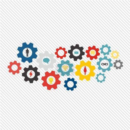 Illustration pour Technologie Web de concept de mécanisme d'entreprise et thème de réseau social. Contexte abstrait avec des engrenages connectés et des icônes pour la stratégie, le service, l'analyse, la recherche, le seo, le marketing numérique, communiquer - image libre de droit