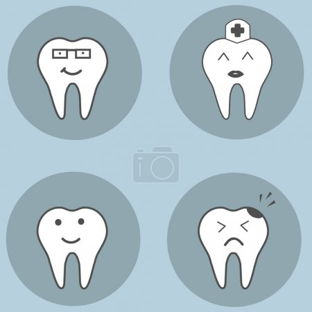 teeth set. Dental collection for your design. Vector cartoons. Illustrations for children dentistry.