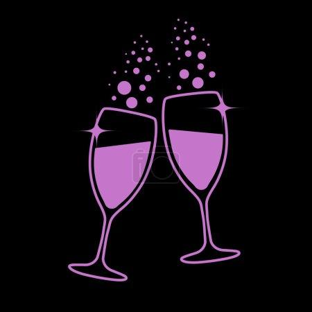 Illustration pour Verres à champagne eps10 illustration vectorielle - image libre de droit
