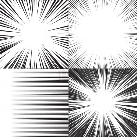Illustration for Comic book speed horizontal lines background set of four editable images - Royalty Free Image