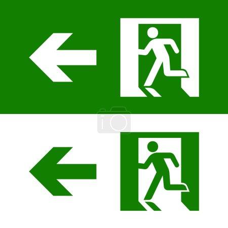 Vector green emergency exit sign on white, Illustr...