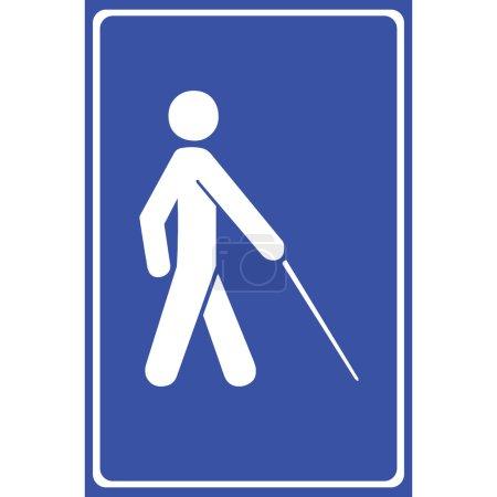 Vector blind symbol on blue background , Illustration EPS10