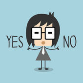 Vector business man Cartoon character holding Yes or No sign Illustration EPS10