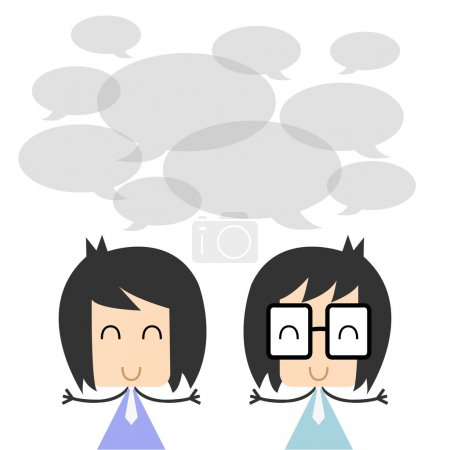 Vector two business people talking and discussing. flat character design, Illustration EPS10