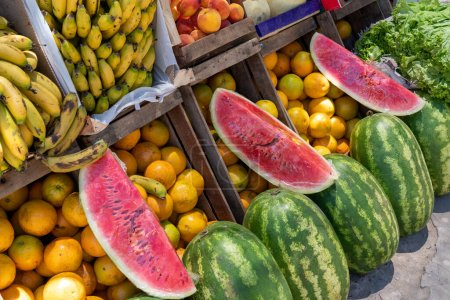 Photo for Selling fruits and vegetables in a street market - Royalty Free Image