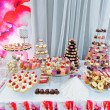 Wedding decoration with colorful cupcakes, eclairs...