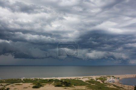 Dark cloud asperatus over the sea