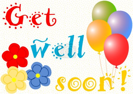 Get well soon with balloons and flowers