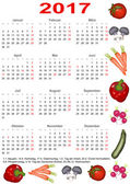 Calendar 2017 for GER with various vegetables