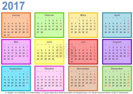 Calendar 2017 each month different colored square GER
