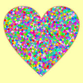 A large heart filled with colorful confetti on light yellow in a square format