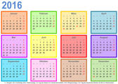 Calendar 2016 with colorful fields per month and holidays Germany