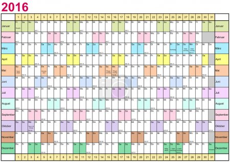 Year Planner 2016 linear each month in different colors Germany