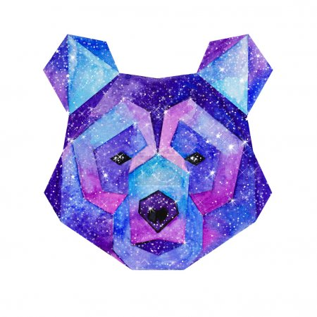Photo for Cosmic polygonal bear. Hand drawn watercolor illustration with galaxy inside. - Royalty Free Image