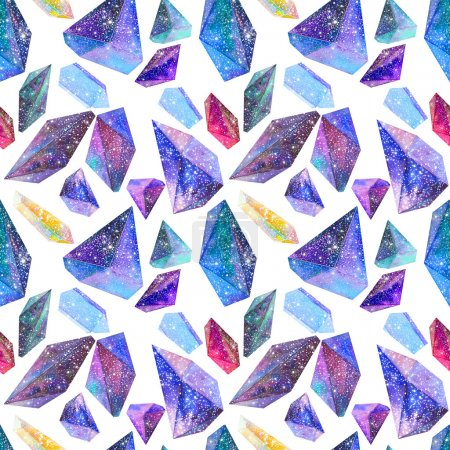 seamless pattern with Watercolor crystals with star sky