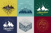 Vintage vector set with inspirational and motivational posters with quotes and graphic elements The mountains are calling and i must go
