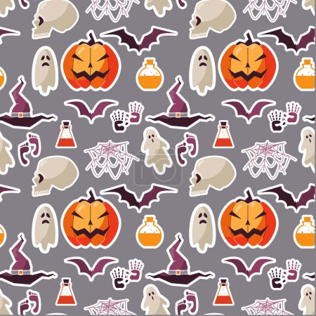 Illustration for Vector halloween seamless pattern - Royalty Free Image