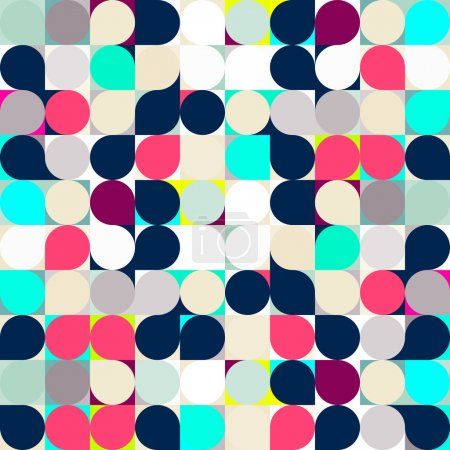 Vector circle mosaic seamless pattern background