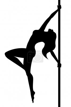 Pole dance. Woman. Vector illustration