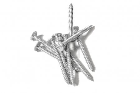 Pressure pad zinc coated  screws isolated on white...