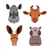 Vector flat animal portraits Heads of rhino hippo giraffe kangaroo Isolated icons for your design